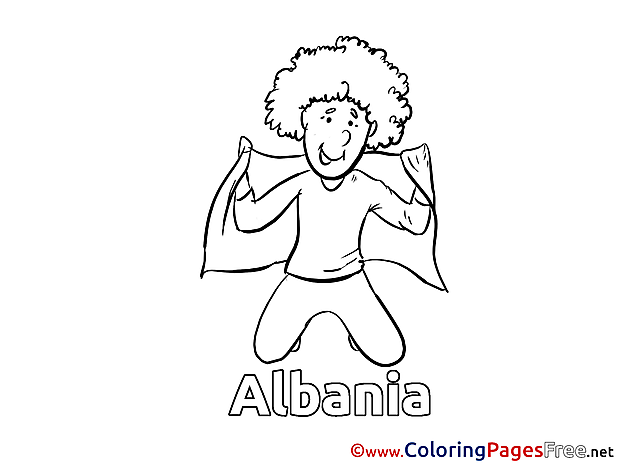Team Albania Fan Kids Soccer Coloring Pages