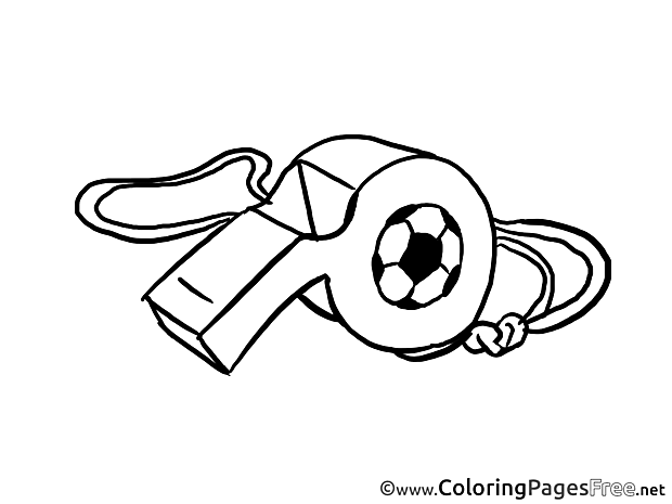Whistle Colouring Page Soccer free