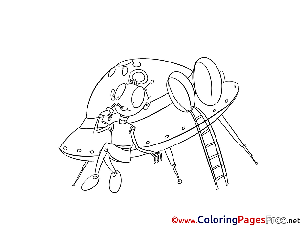 Flying Saucer Kids Download Coloring Pages