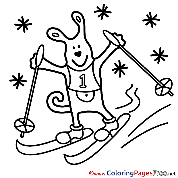 Animal Ski Kids download Coloring Pages