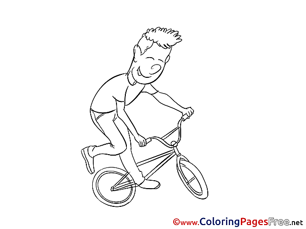 Bicycle Kids free Coloring Page