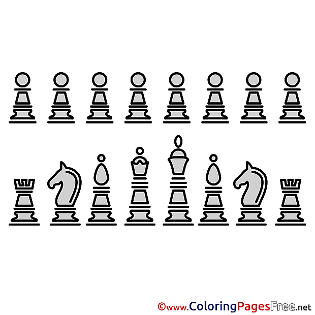 Chess Pieces for Kids printable Colouring Page