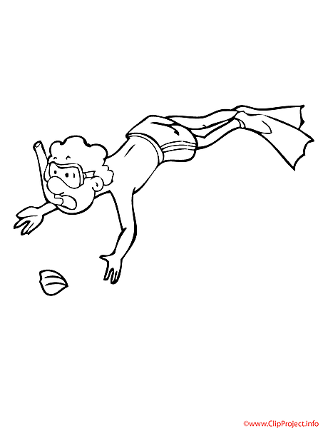 Diver coloring picture for free