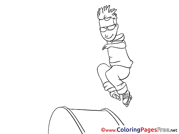 Roller Skates download Colouring Sheet free