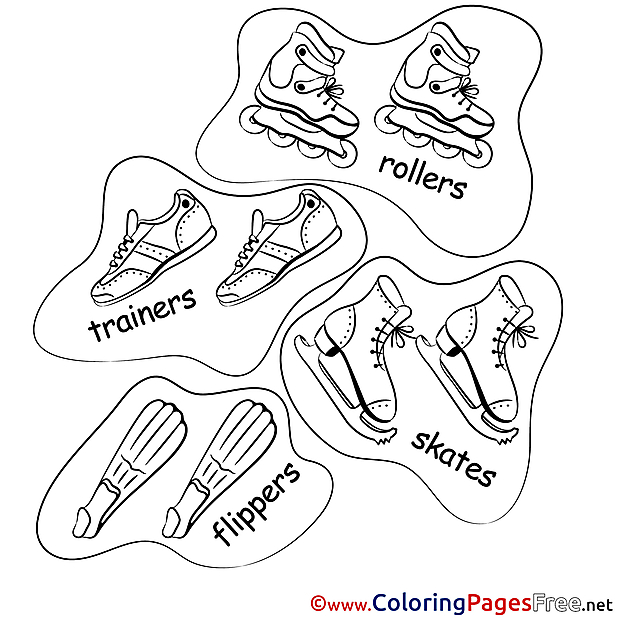 Rollers Skates Ice printable Coloring Sheets download