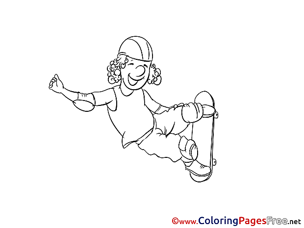 Skateboard Kids free Coloring Page