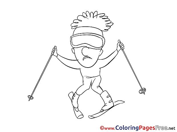 Ski download Colouring Sheet free