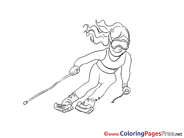 Ski printable Coloring Pages for free