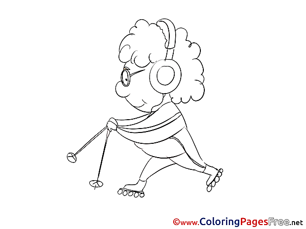 Sport for Kids printable Colouring Page Old Woman