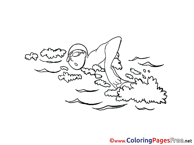 Swimming Colouring Page printable free