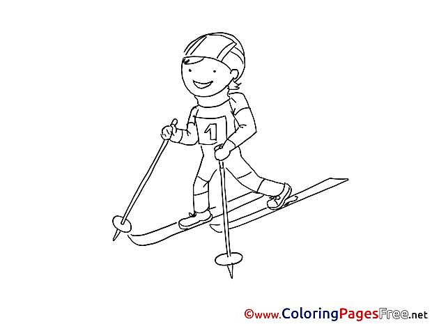Winter Sport Ski Children download Colouring Page
