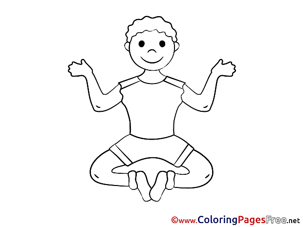 Yoga Children download Colouring Page