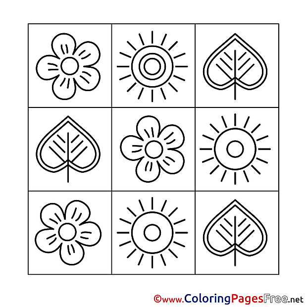 Decoration free Colouring Page Spring