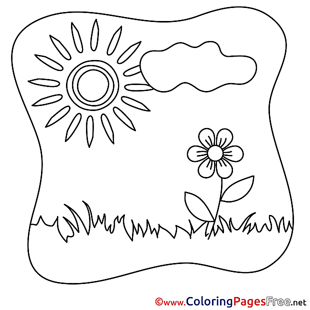Cloud Sun Summer Coloring Pages Flower free