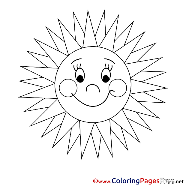 Ray Children Summer Colouring Page Sun