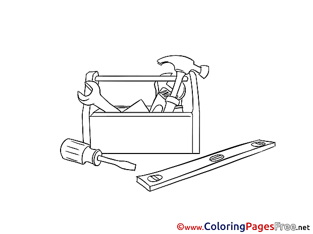 Carpentry Tools for Kids printable Colouring Page