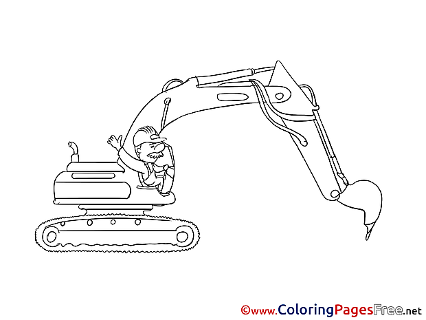 Excavator Children Coloring Pages free