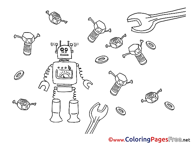 Robot download Colouring Sheet free