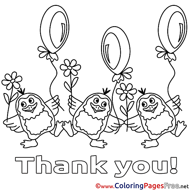 Balloons Penguins Coloring Pages Thank You for free