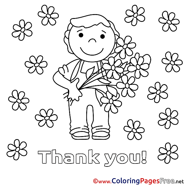 Boy Thank You Coloring Pages Flowers Download