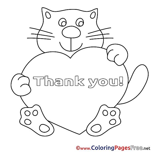 Heart Cat Thank You Colouring Sheet free