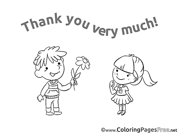 Present Flower Children Thank You Colouring Page