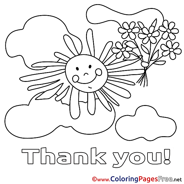 Sun Clouds for Kids Thank You Colouring Page