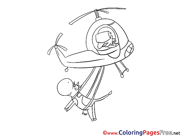 Cow Helicopter download printable Coloring Pages