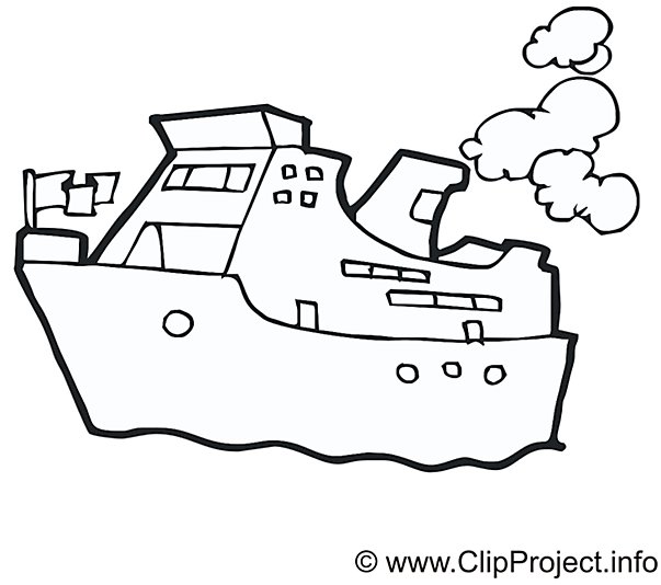 Steamship coloring free PNG