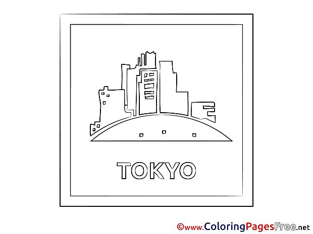 Tokyo download Colouring Sheet free