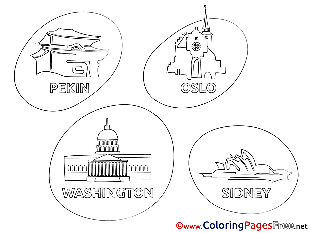 Travelling Cities free Colouring Page download