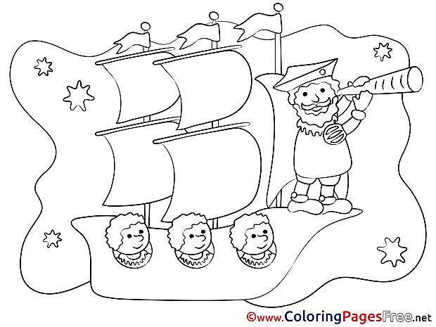 Travelling Ship free printable Coloring Sheets
