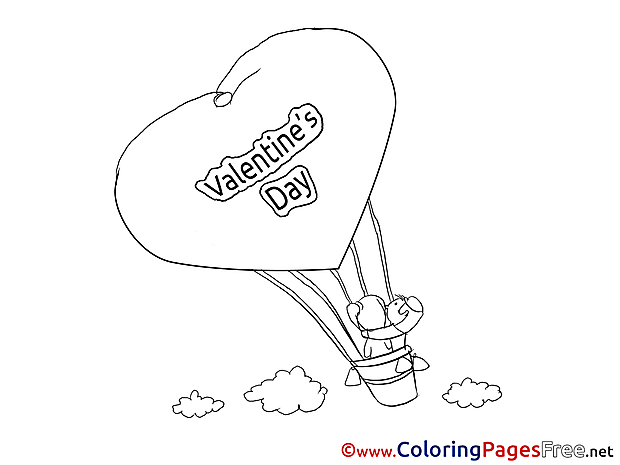 Air Balloon download Valentine's Day Coloring Pages