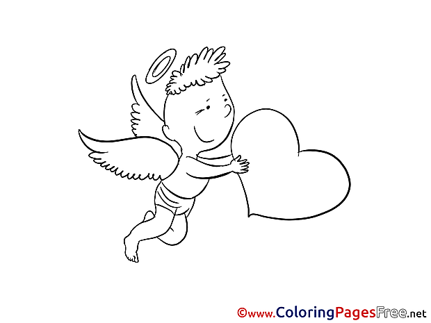 Angel Boy free Colouring Page Valentine's Day