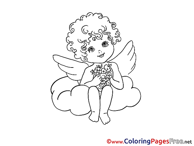 Angel Cloud Valentine's Day free Coloring Pages
