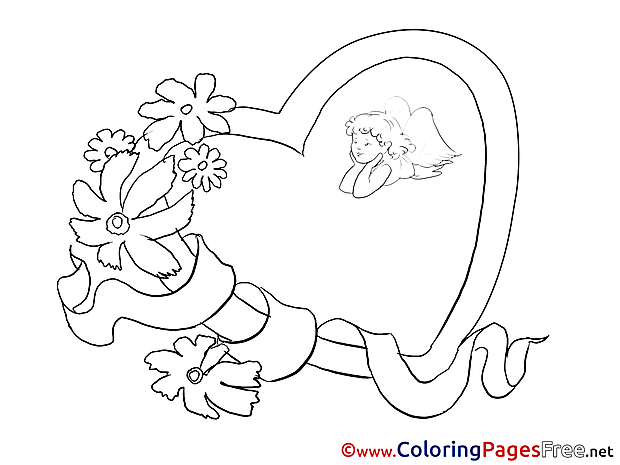 Angel Flowers printable Valentine's Day Coloring Sheets