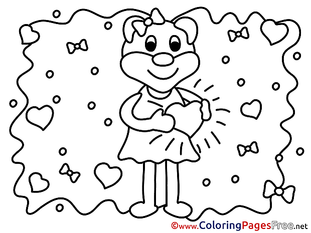 Animal Bear Kids Valentine's Day Love Coloring Page