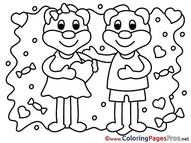 Animals Bears Valentine's Day Coloring Pages download
