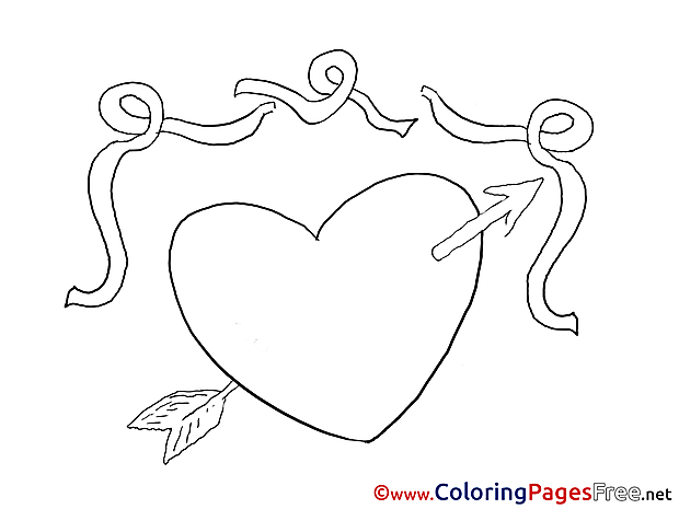 Arrow Heart download Valentine's Day Coloring Pages
