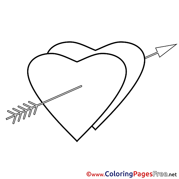 Arrow Heart for Kids Valentine's Day Colouring Page