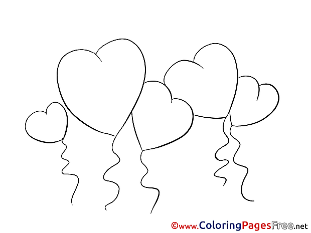 Balloons Hearts Coloring Pages Valentine's Day for free