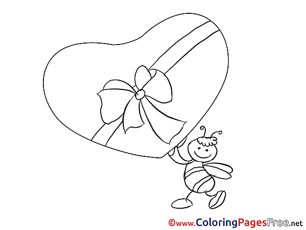 Bee Gift Colouring Sheet download Valentine's Day