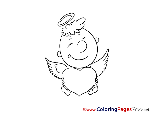 Boy Cupid free Valentine's Day Coloring Sheets