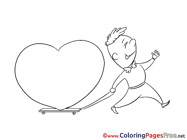 Boy with Heart Coloring Sheets Valentine's Day free