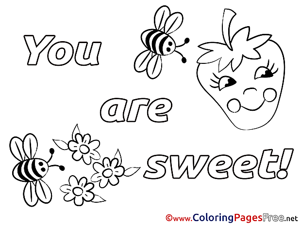 Bugs You Are Sweet free Valentine's Day Coloring Sheets