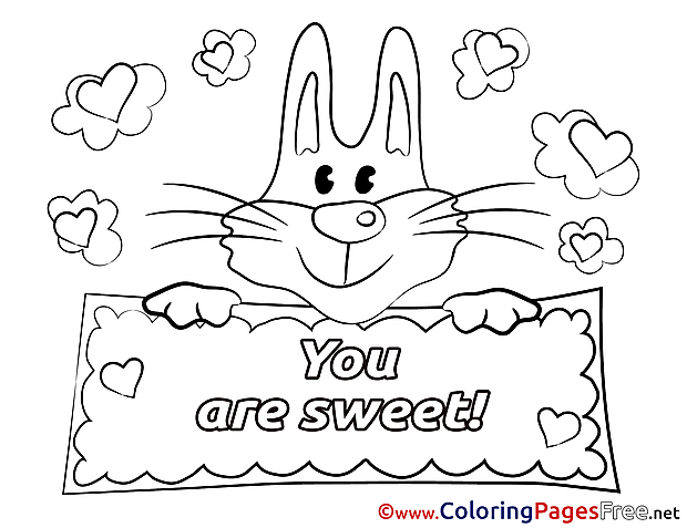 Bunny Valentine's Day free Coloring Pages