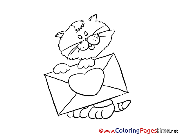 Cat Letter for Kids Valentine's Day Colouring Page