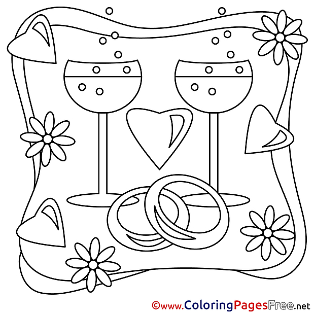 Champagne free Colouring Page Valentine's Day