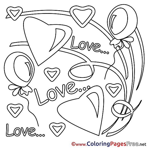 Colouring Page Valentine's Day free Love
