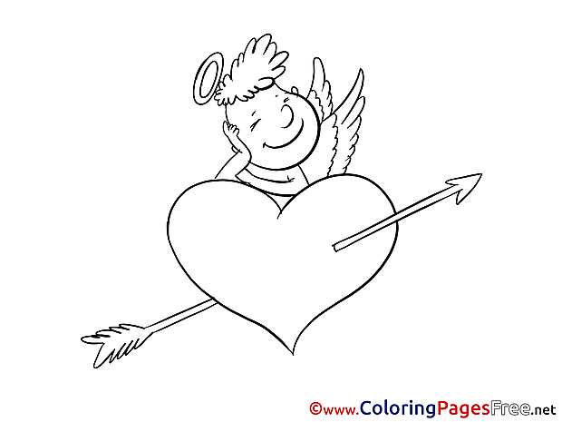 Cupid Heart Valentine's Day Coloring Pages free